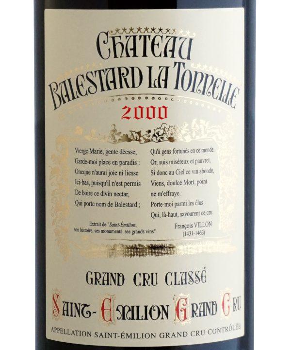 Etiquette Château Balestard La Tonnelle 2000
