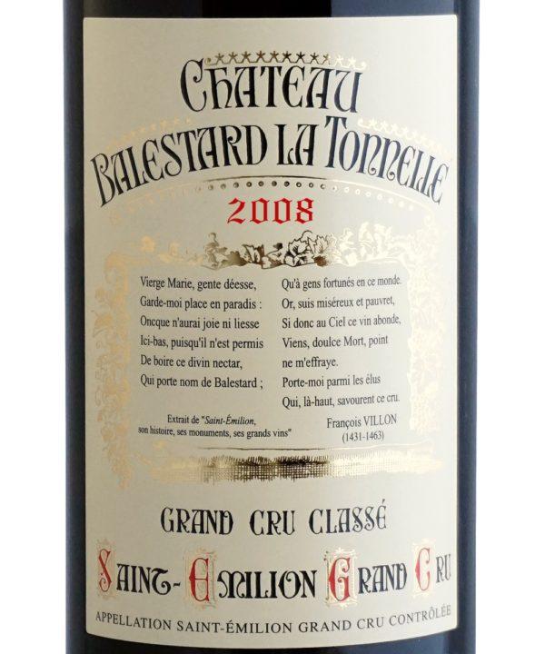 Etiquette Château Balestard La Tonnelle 2008