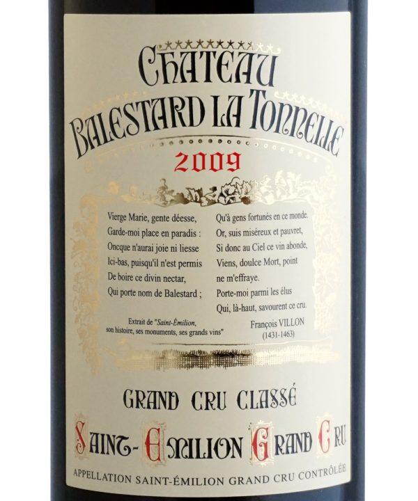 Etiquette Château Balestard La Tonnelle 2009