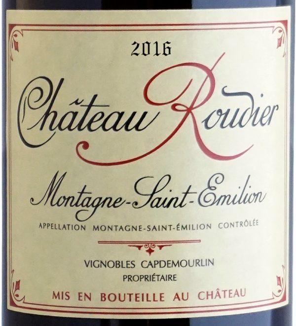 Etiquette Château Roudier 2016