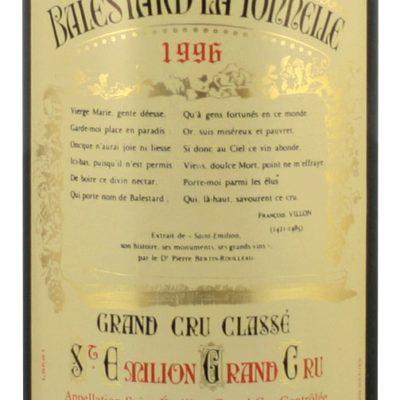 Etiquette Château Balestard La Tonnelle 1996 Magnum